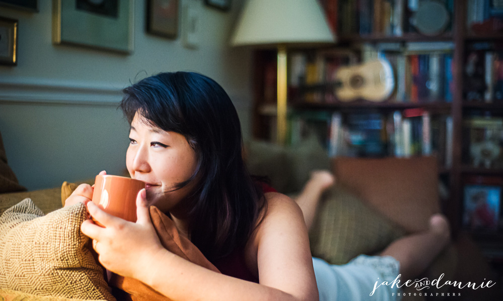 Dannie drinks tea while relaxing in our Airbnb house in Savannah Georogia