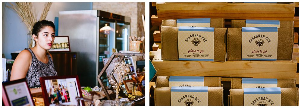 the cashier and boxes of honey products in the Savannah Bee Company