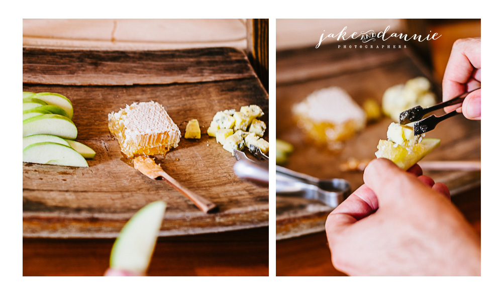 The savannah bee company had free samples of honeycomb served on apple with bleu cheese