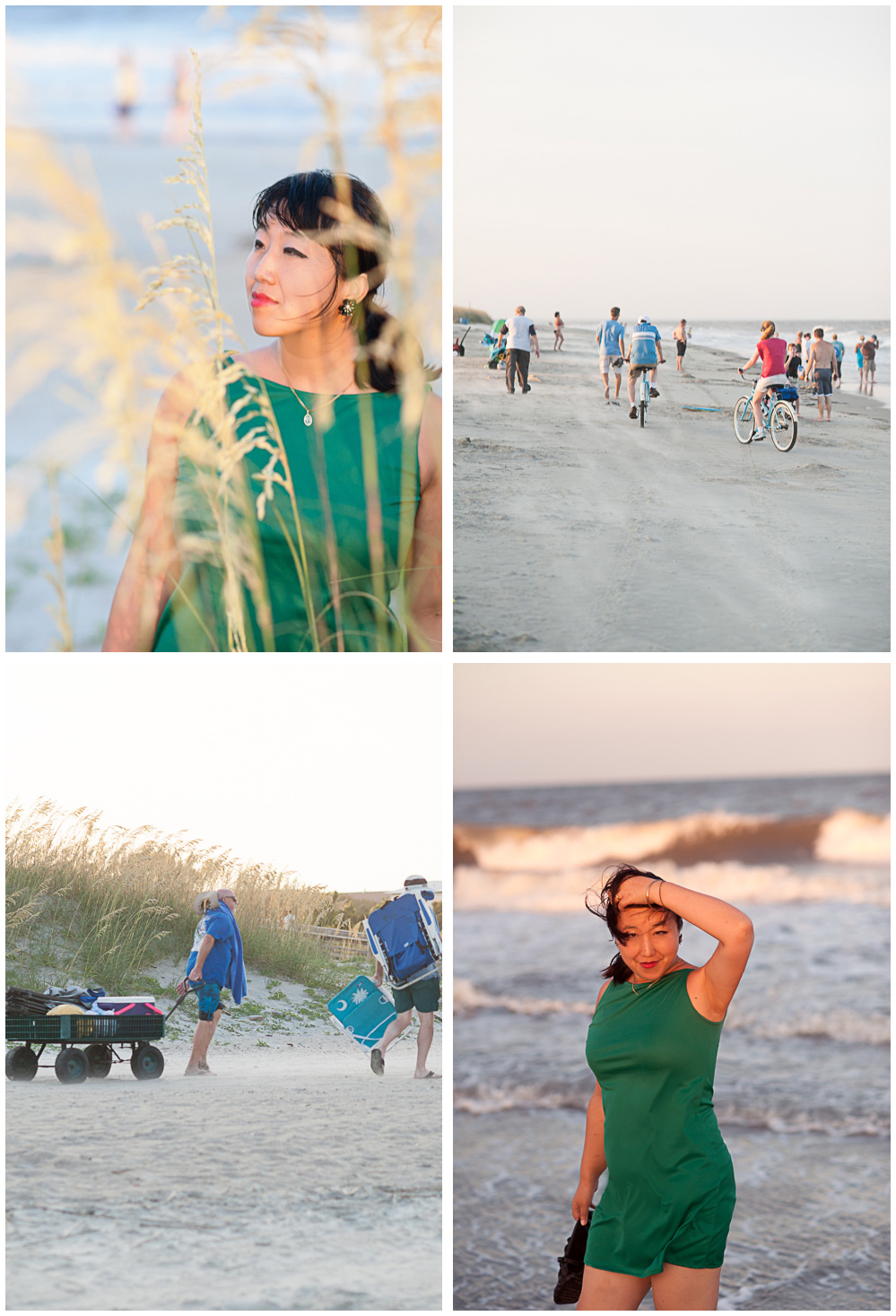 Four photos of Dannie exploring the beach on Tybee Island before sunset